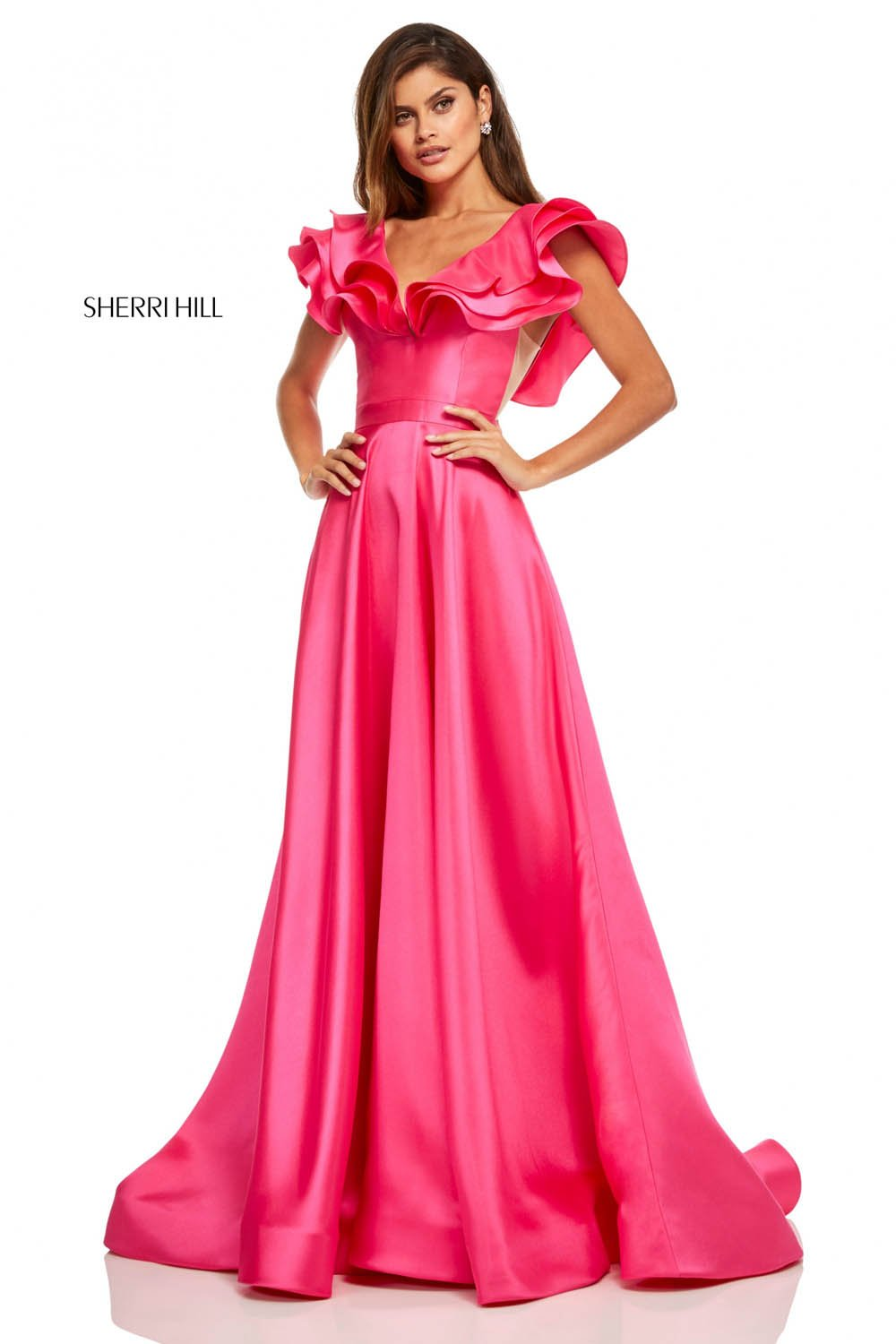 Sherri Hill 52595 prom dress images.  Sherri Hill 52595 is available in these colors: Black, Orange, Red, Emerald, Yellow, Hot Pink, Lilac, Turquoise, Light Blue.