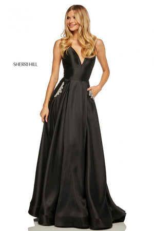 Sherri Hill 52597 prom dress images.  Sherri Hill 52597 is available in these colors: Emerald, Coral, Navy, Yellow, Red, Blush, Black, Violet, Light Blue, Mocha.