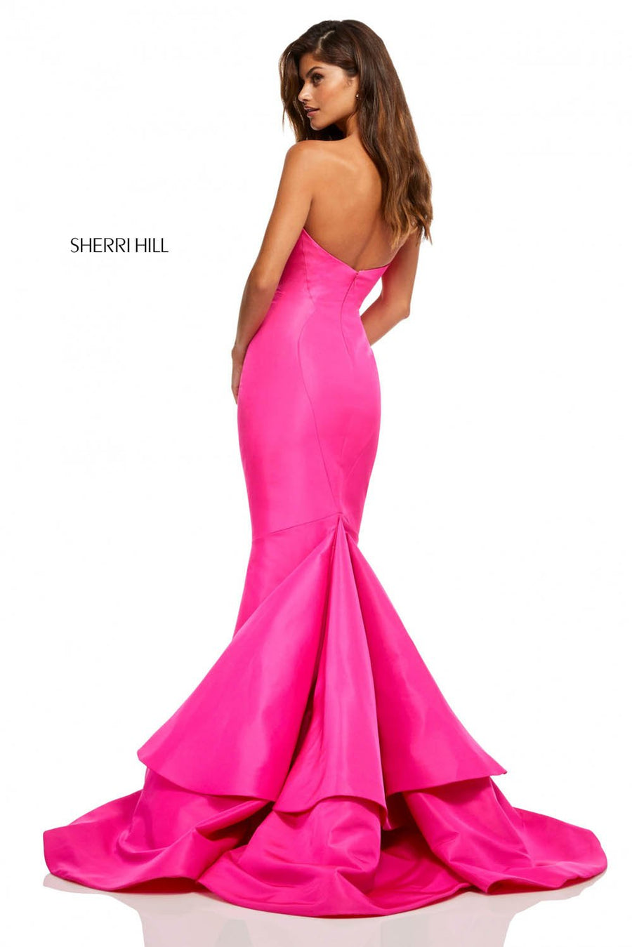 Sherri Hill 52601 prom dress images.  Sherri Hill 52601 is available in these colors: Emerald, Navy, Red, Yellow, Bright Pink, Light Blue, Orange.