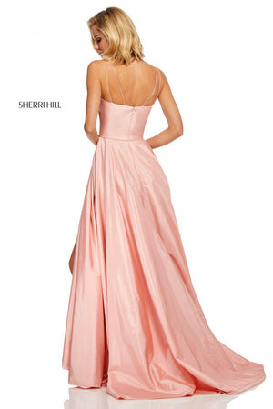 Sherri Hill 52602 prom dress images.  Sherri Hill 52602 is available in these colors: Red, Ivory, Blush, Purple, Yellow, Bright Pink, Emerald, Navy, Royal.