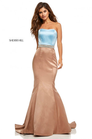 Sherri Hill 52616 prom dress images.  Sherri Hill 52616 is available in these colors: Black Fuchsia, Ivory Black, Blush Navy, Light Blue Mocha, Red, Coral Mocha, Red Black, Yellow, Emerald, Royal.