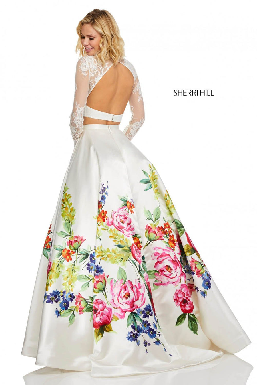 Sherri Hill 52625 prom dress images.  Sherri Hill 52625 is available in these colors: Ivory Print.