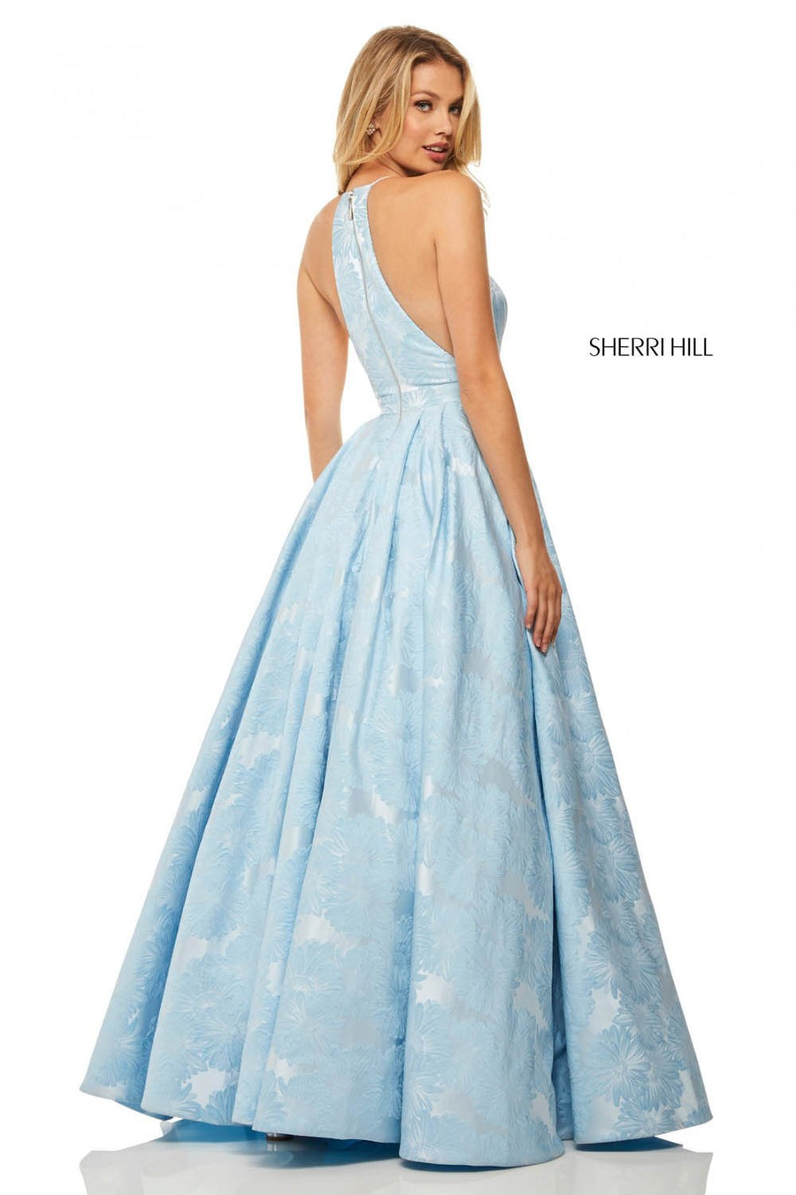 Sherri Hill 52630 prom dress images.  Sherri Hill 52630 is available in these colors: Lilac, Light Blue, Black, Green, Fuchsia, Royal, Ivory, Red.