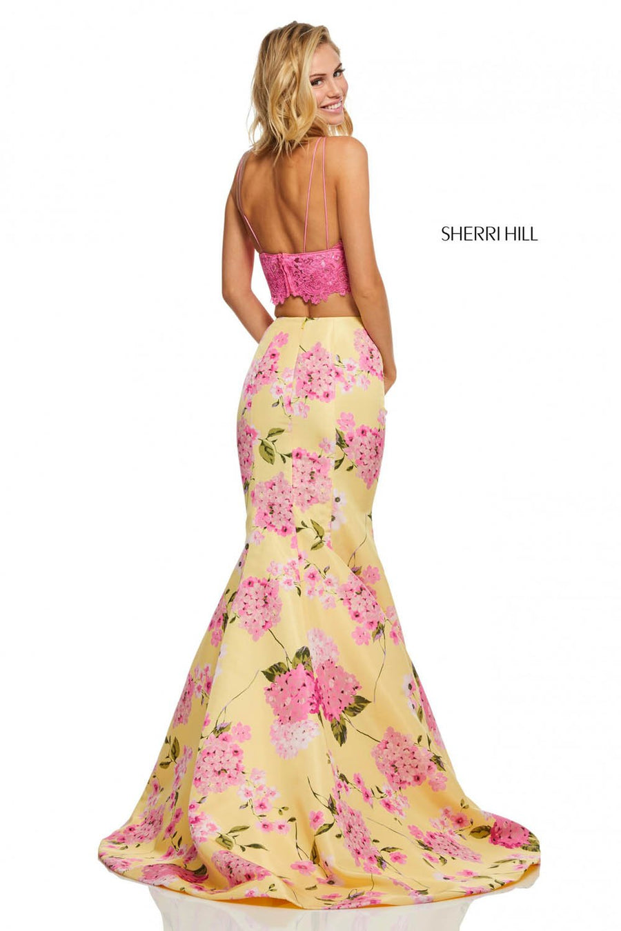 Sherri Hill 52635 prom dress images.  Sherri Hill 52635 is available in these colors: Candy Pink Yellow, Lilac Ivory, Light Blue Light Yellow Print, Lilac Light Blue Print, Candy Pink Ivory Print.
