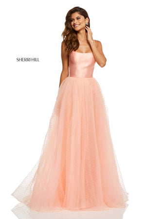 Sherri Hill 52639 prom dress images.  Sherri Hill 52639 is available in these colors: Red, Ivory, Blush, Coral, Black, Navy.