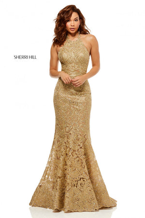 Sherri Hill 52644 prom dress images.  Sherri Hill 52644 is available in these colors: Light Blue, Rose Gold, Gold.