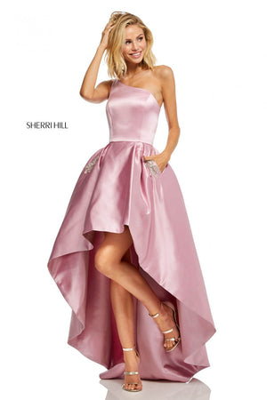 Sherri Hill 52659 prom dress images.  Sherri Hill 52659 is available in these colors: Ivory, Lilac, Yellow, Red, Berry, Emerald, Royal, Light Blue, Rose.