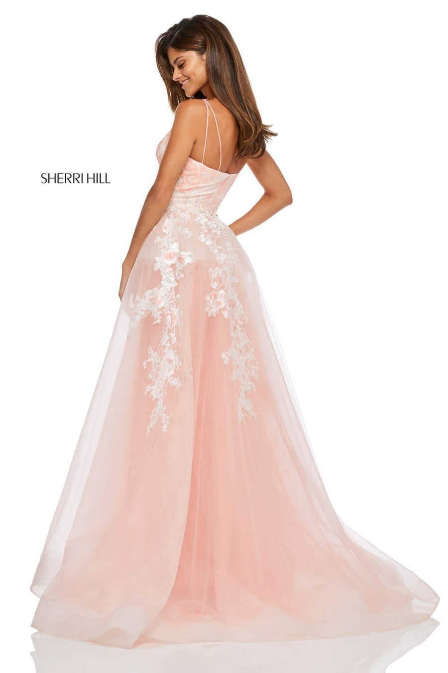 Sherri Hill 52660 prom dress images.  Sherri Hill 52660 is available in these colors: Coral, Ivory.