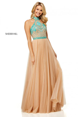 Sherri Hill 52662 prom dress images.  Sherri Hill 52662 is available in these colors: Ivory Blue, Ivory Coral, Ivory Aqua, Nude Blue, Nude Aqua, Nude Coral.