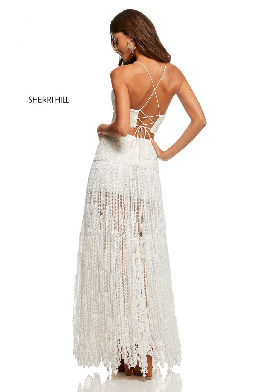 Sherri Hill 52671 prom dress images.  Sherri Hill 52671 is available in these colors: Ivory, Ivory Blue, Black.