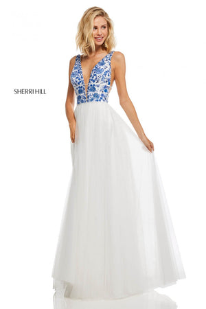 Sherri Hill 52672 prom dress images.  Sherri Hill 52672 is available in these colors: Ivory Coral, Ivory Aqua, Ivory Blue, Nude Aqua, Nude Coral, Nude Blue.