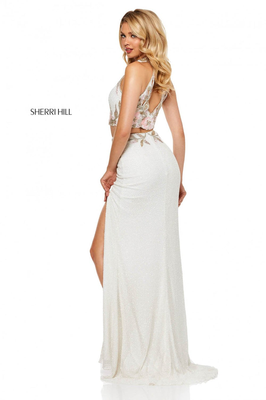 Sherri Hill 52682 prom dress images.  Sherri Hill 52682 is available in these colors: Ivory Pink, Nude Silver, Light Yellow, Nude Aqua, Navy Blush.