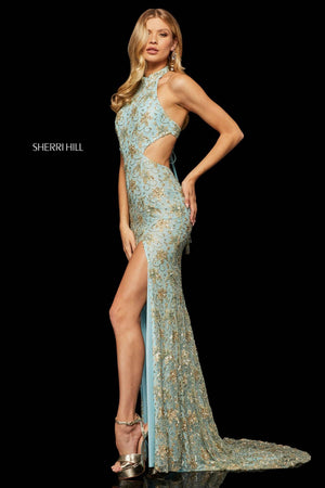Sherri Hill 52683 prom dress images.  Sherri Hill 52683 is available in these colors: Light Blue Gold.