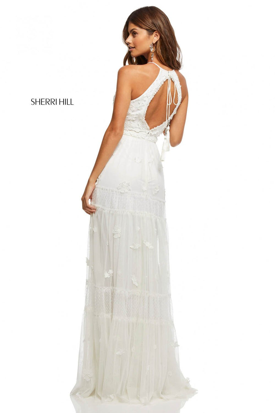 Sherri Hill 52687 prom dress images.  Sherri Hill 52687 is available in these colors: Ivory.