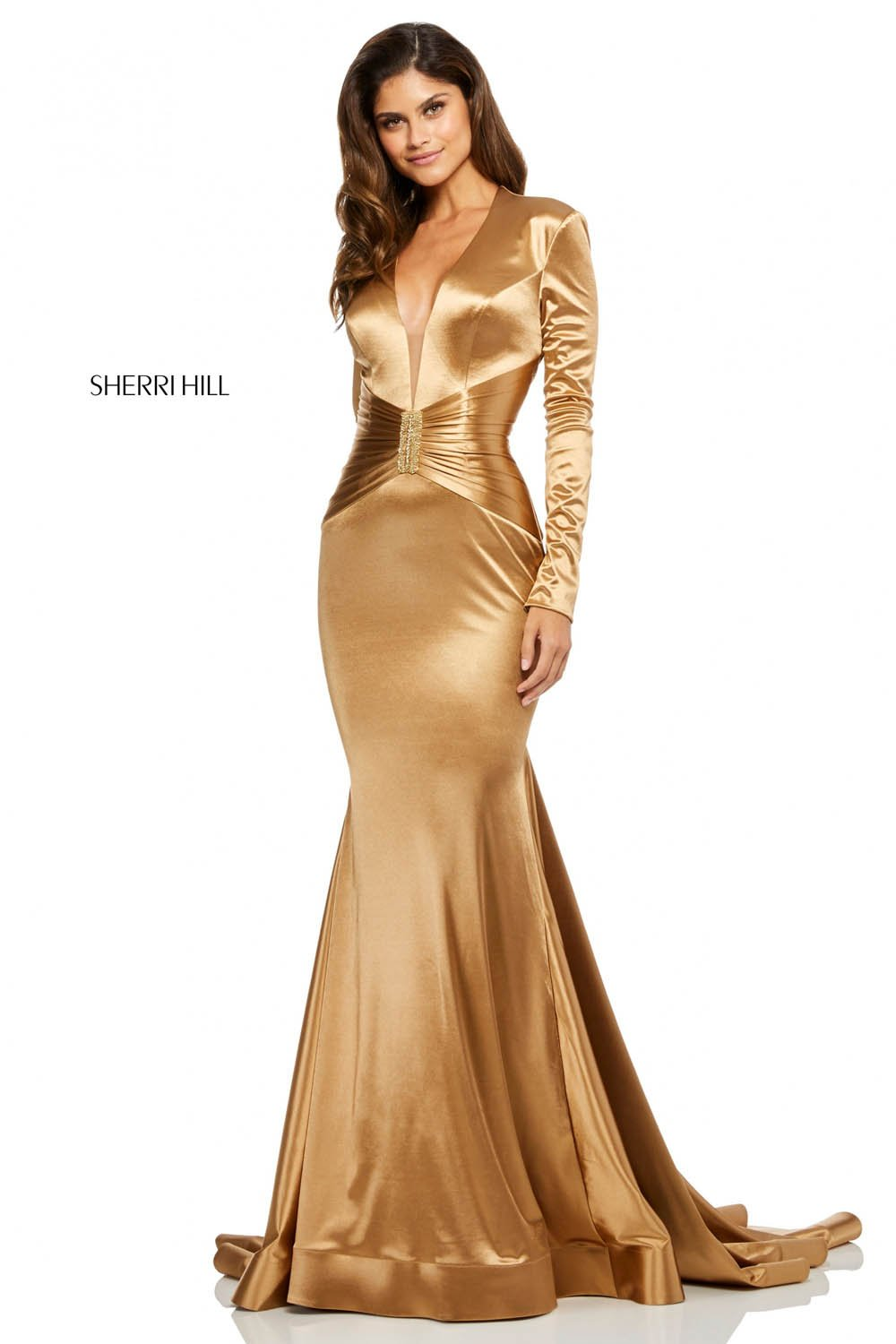 Sherri Hill 52698 prom dress images.  Sherri Hill 52698 is available in these colors: Gold, Black, Navy, Dark Red.