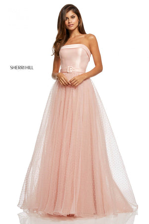 Sherri Hill 52709 prom dress images.  Sherri Hill 52709 is available in these colors: Blush, Navy, Red, Black, Light Pink, Light Blue.