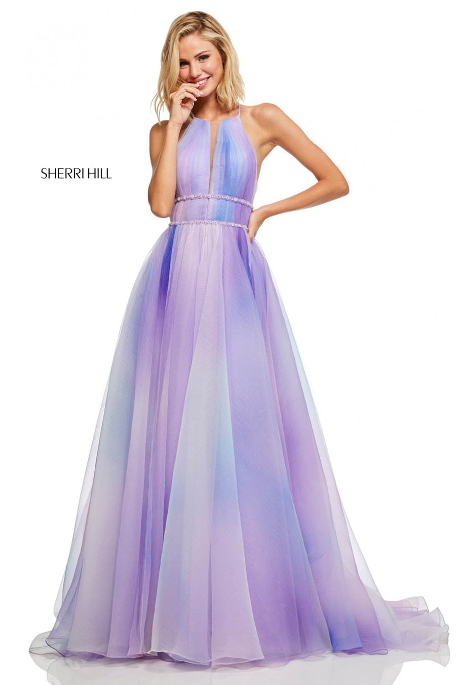 Sherri Hill 52711 prom dress images.  Sherri Hill 52711 is available in these colors: Lilac, Light Blue, Pink Green.