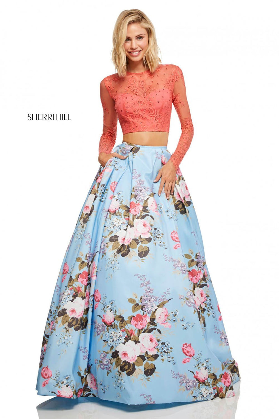 Sherri Hill 52717 prom dress images.  Sherri Hill 52717 is available in these colors: Coral Blue Print, Coral Yellow Print, Coral Ivory Print.