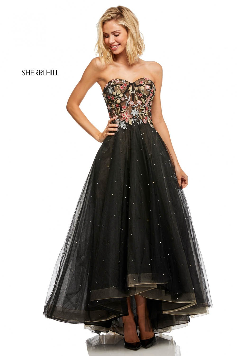 Sherri Hill 52739 prom dress images.  Sherri Hill 52739 is available in these colors: Black Mulighti.
