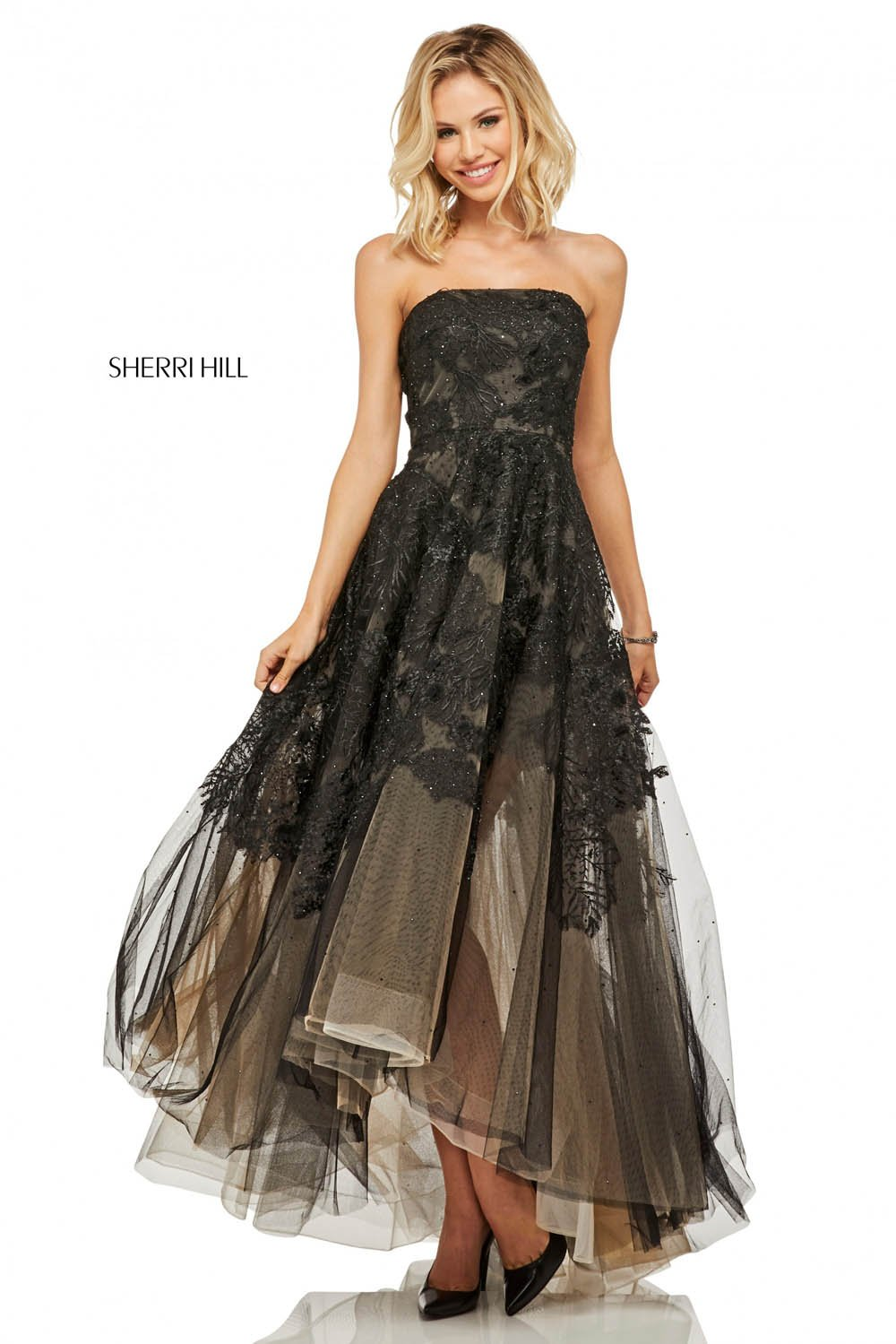 Sherri Hill 52740 prom dress images.  Sherri Hill 52740 is available in these colors: Black.