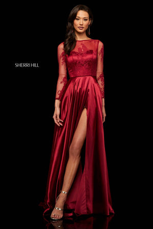 Sherri Hill 52765 prom dress images.  Sherri Hill 52765 is available in these colors: Black Red, Red, Black, Wine, Navy.