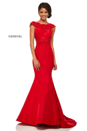 Sherri Hill 52772 prom dress images.  Sherri Hill 52772 is available in these colors: Yellow, Light Blue, Red, Black.