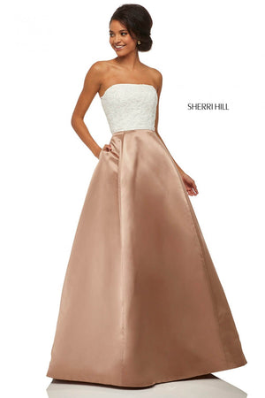 Sherri Hill 52774 prom dress images.  Sherri Hill 52774 is available in these colors: Black Ivory, Light Blue Mocha, Navy Blush, Ivory, Navy, Black Red, Ivory Mocha, Light Blue, Black, Blush, Red.