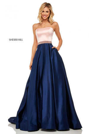 Sherri Hill 52776 prom dress images.  Sherri Hill 52776 is available in these colors: Light Blue Mocha, Fuchsia Red, Red Black, Ivory Black, Blush Navy, Coral Mocha, Ivory Mocha.