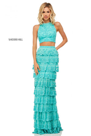 Sherri Hill 52777 prom dress images.  Sherri Hill 52777 is available in these colors: Aqua.