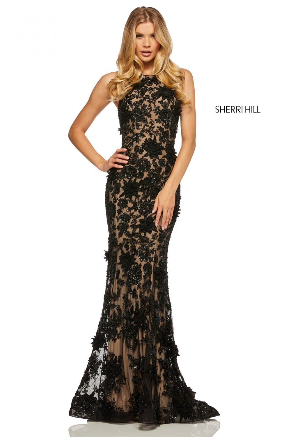 Sherri Hill 52778 prom dress images.  Sherri Hill 52778 is available in these colors: Nude Ivory.