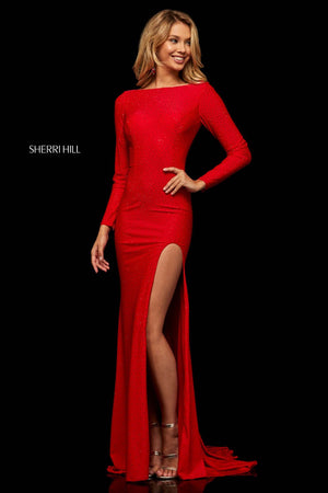Sherri Hill 52791 prom dress images.  Sherri Hill 52791 is available in these colors: Gunmetal, Black, Royal, Red, Navy.
