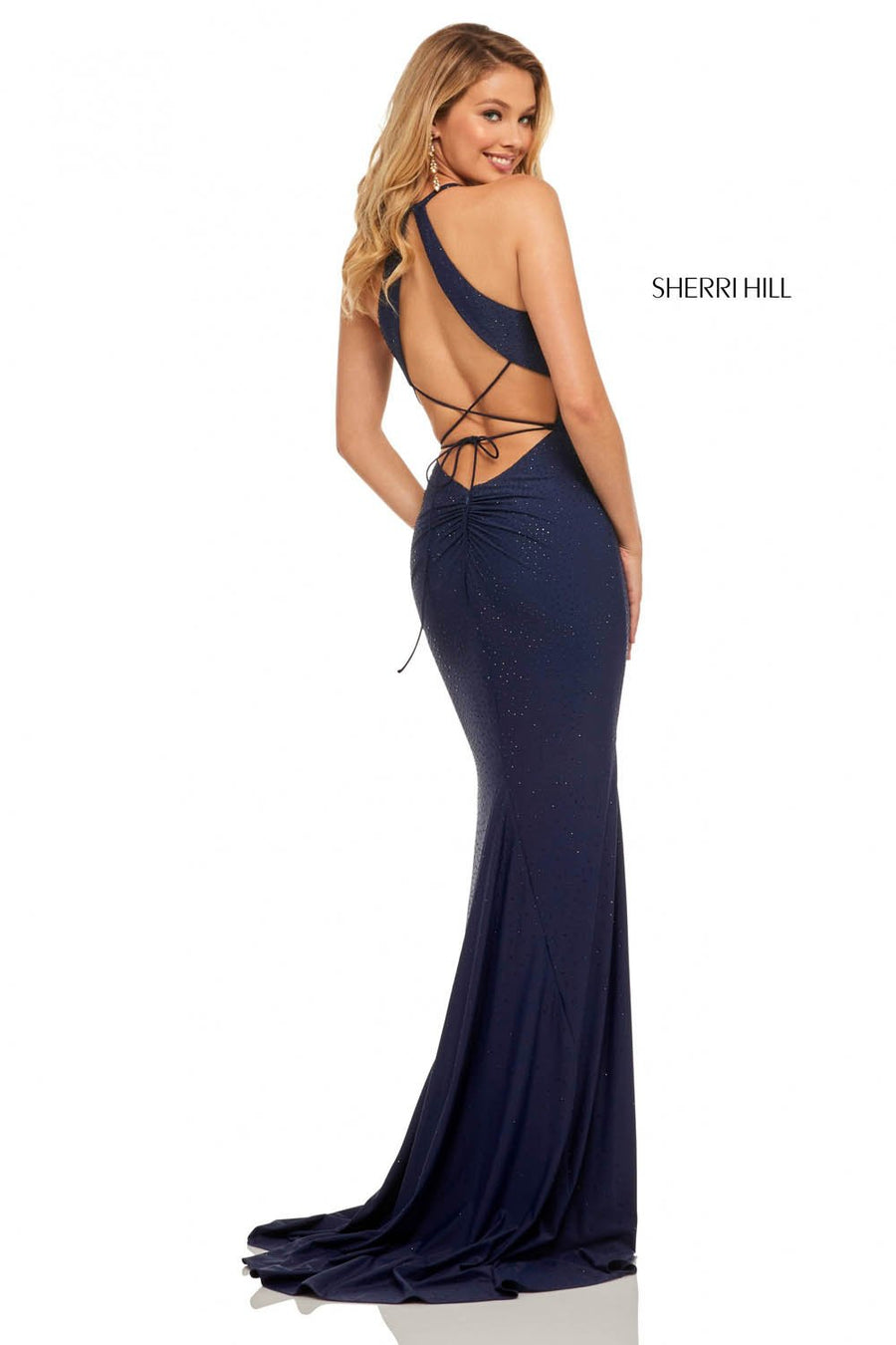 Sherri Hill 52792 prom dress images.  Sherri Hill 52792 is available in these colors: Orange, Navy, Red, Royal, Black, Gunmetal.