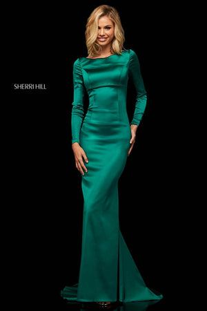 Sherri Hill 52794 prom dress images.  Sherri Hill 52794 is available in these colors: Mocha, Navy, Emerald, Ruby, Blush, Royal, Berry, Red, Black, Teal.
