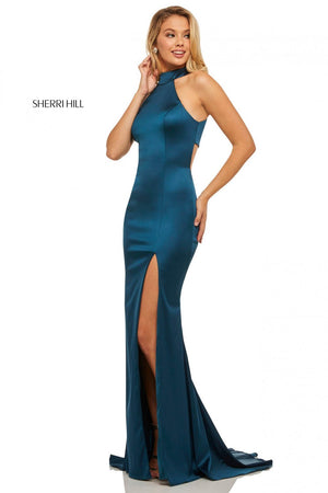 Sherri Hill 52795 prom dress images.  Sherri Hill 52795 is available in these colors: Red, Royal, Mocha, Blush, Berry, Emerald, Teal, Navy, Ruby, Black.