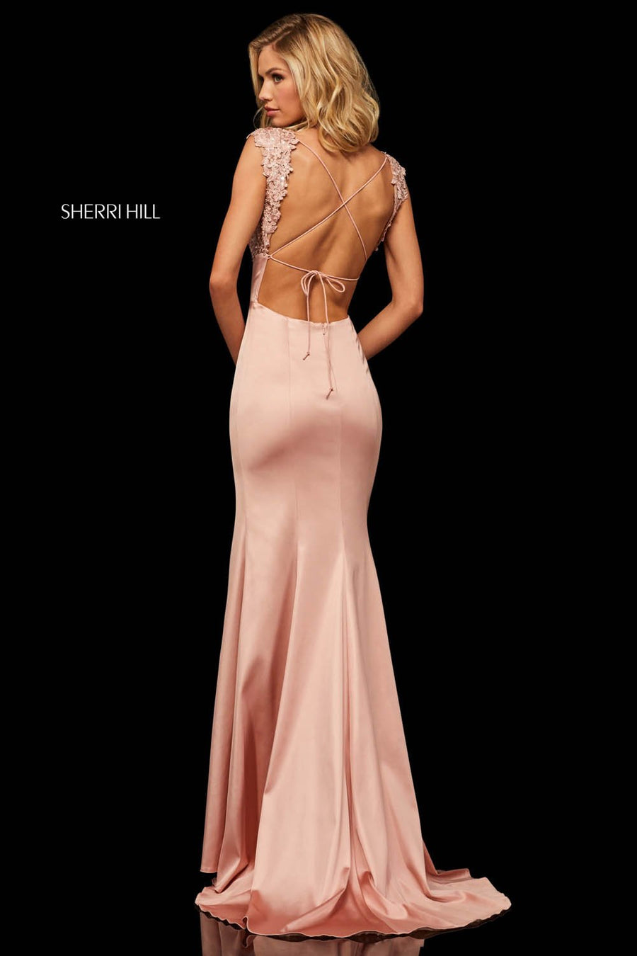Sherri Hill 52796 prom dress images.  Sherri Hill 52796 is available in these colors: Navy, Red, Ruby, Black, Royal, Blush.
