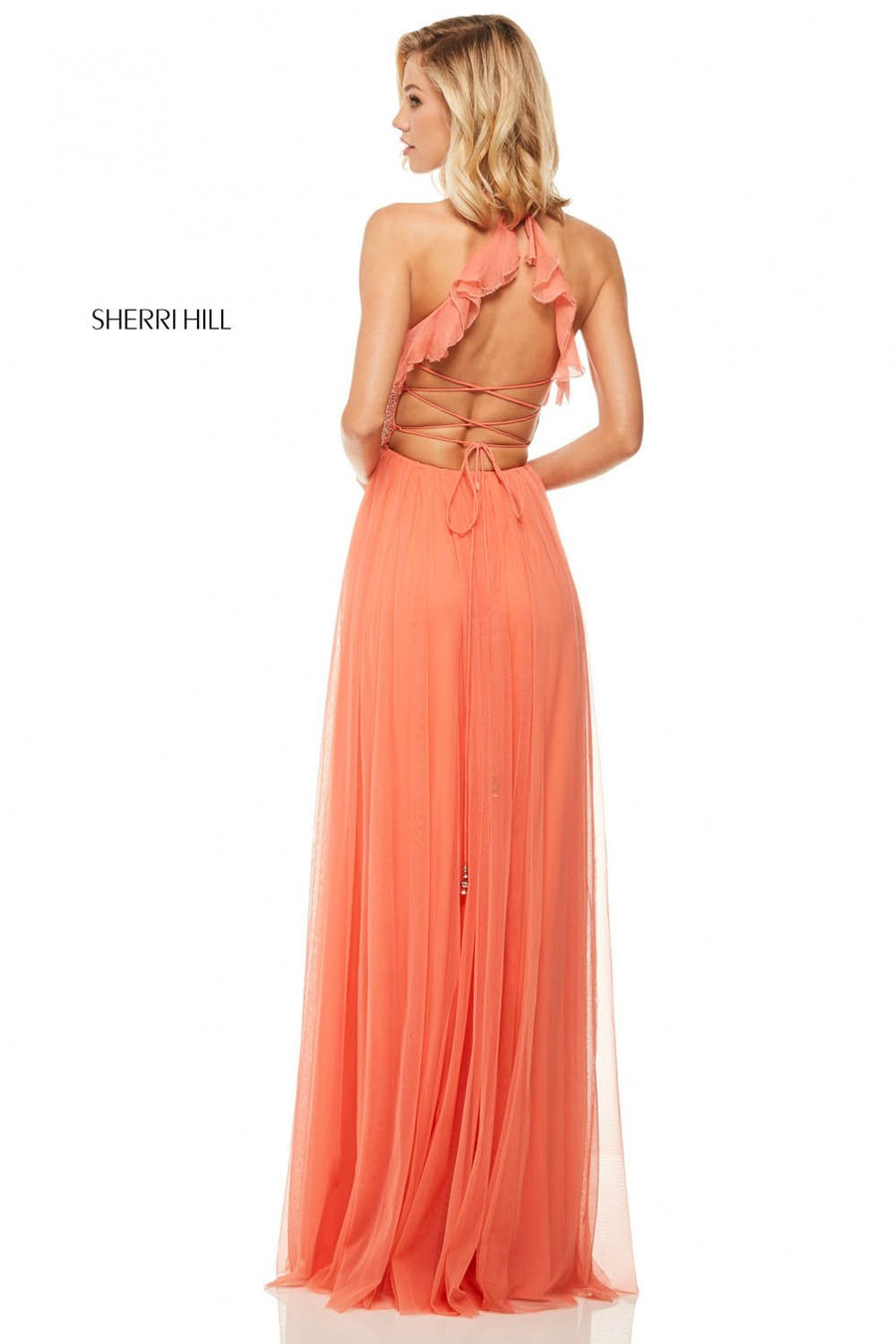 Sherri Hill 52797 prom dress images.  Sherri Hill 52797 is available in these colors: Black, Red, Lilac, Yellow, Nude, Ivory, Coral.