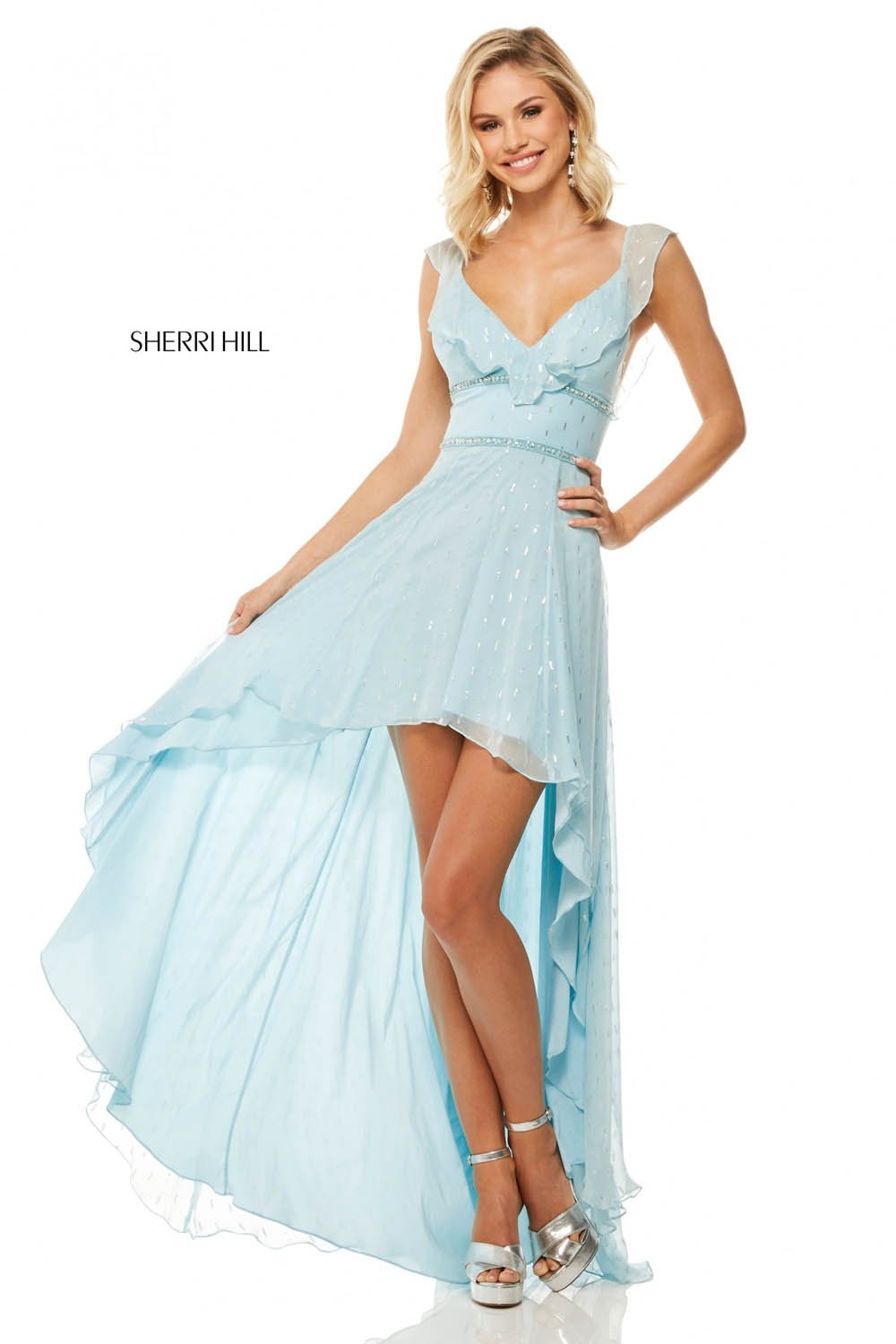 Sherri Hill 52799 prom dress images.  Sherri Hill 52799 is available in these colors: Light Pink, Lilac, Light Blue, Ivory, Black, Light Yellow.