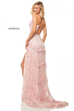 Sherri Hill 52805 prom dress images.  Sherri Hill 52805 is available in these colors: Light Pink, Ivory, Black.