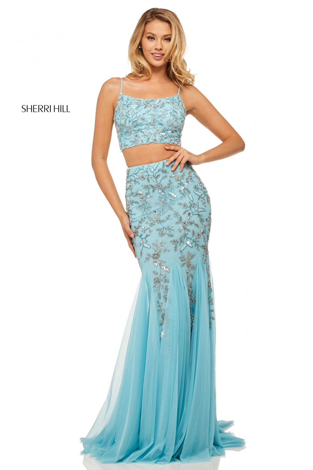 Sherri Hill 52808 prom dress images.  Sherri Hill 52808 is available in these colors: Light Pink, Light Yellow, Light Blue.