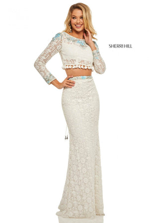 Sherri Hill 52809 prom dress images.  Sherri Hill 52809 is available in these colors: Ivory Aqua.