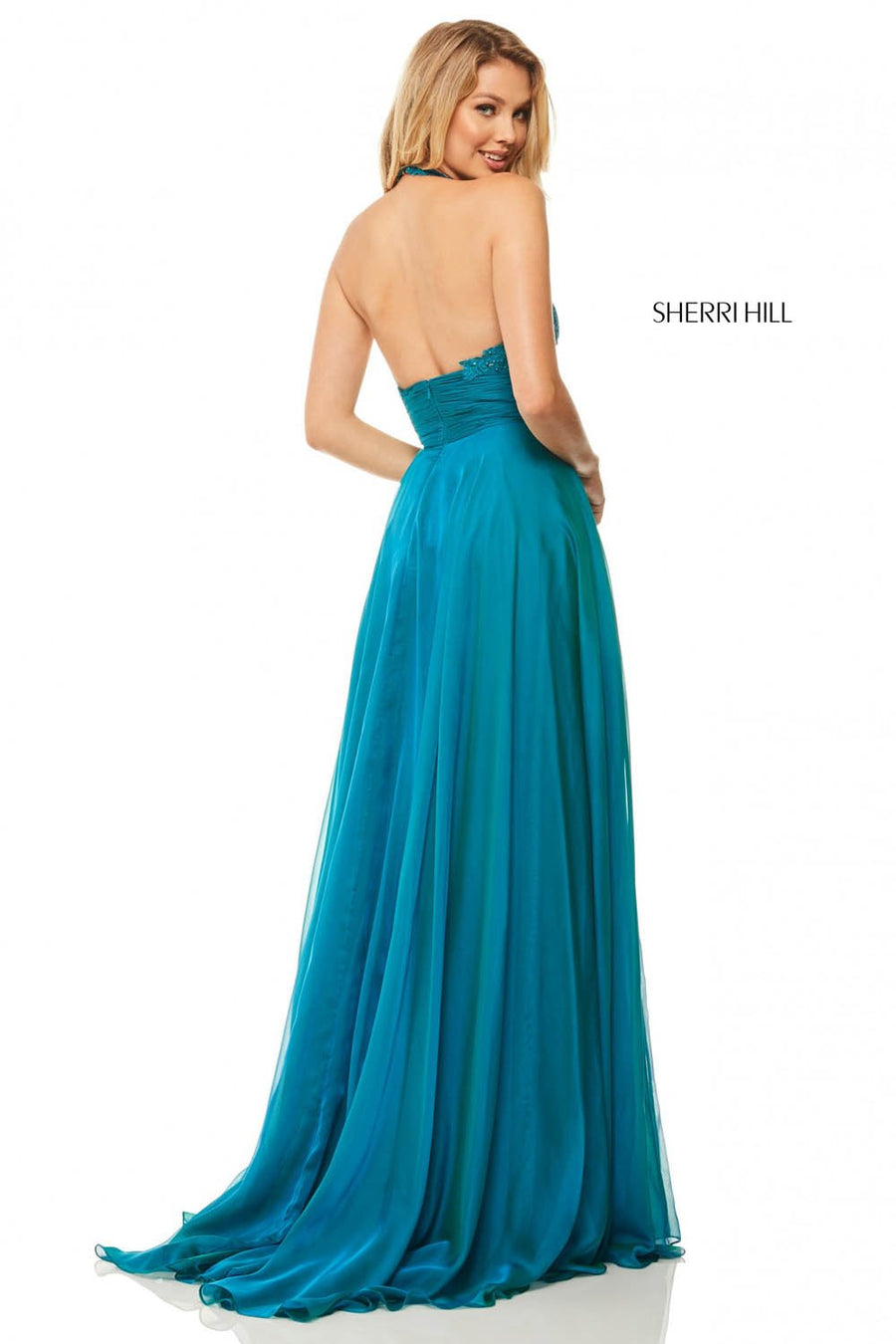 Sherri Hill 52817 prom dress images.  Sherri Hill 52817 is available in these colors: Teal, Berry, Gunmetal, Peacock, Navy, Eggplant.
