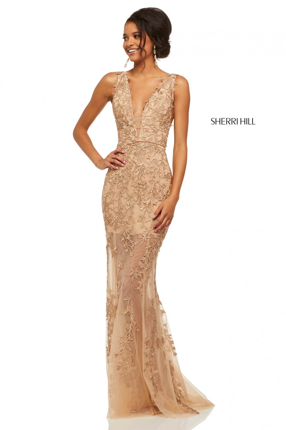 Sherri Hill 52820 prom dress images.  Sherri Hill 52820 is available in these colors: Pink, Periwinkle, Light Blue, Red, Ivory, Black, Gold.