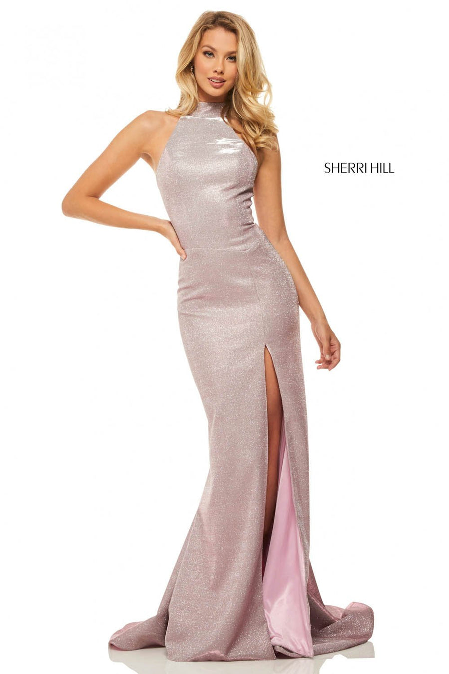 Sherri Hill 52826 prom dress images.  Sherri Hill 52826 is available in these colors: Electric Silver, Electric Purple, Electric Pink, Electric Gold, Electric Blue, Electric Aqua.