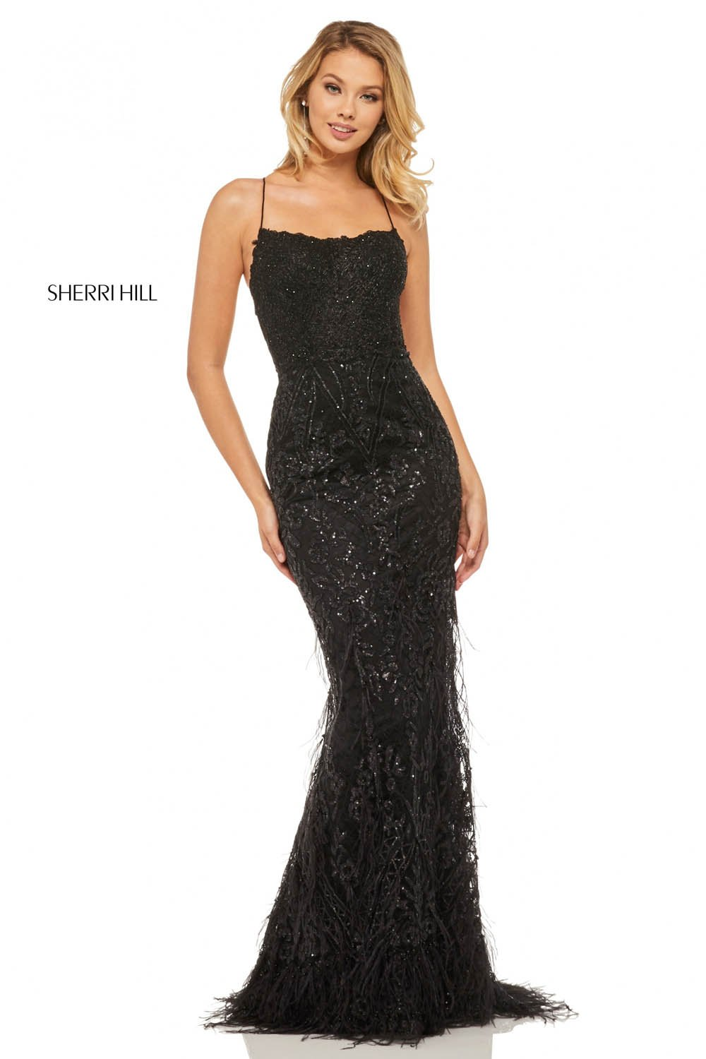 Sherri Hill 52827 prom dress images.  Sherri Hill 52827 is available in these colors: Gold, Silver, Rose Gold, Navy, Wine, Black.