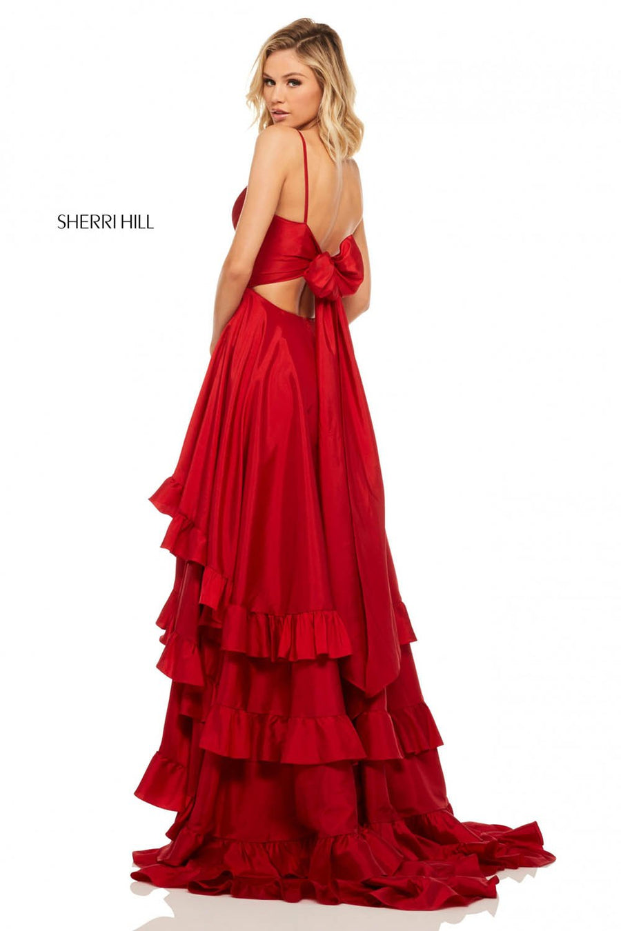 Sherri Hill 52834 prom dress images.  Sherri Hill 52834 is available in these colors: Red, Pink, Black, Ivory, Turquoise, Navy, Light Blue, Yellow.