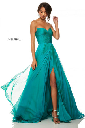 Sherri Hill 52840 prom dress images.  Sherri Hill 52840 is available in these colors: Royal, Emerald, Red, Berry, Navy, Yellow, Lilac, Wine, Jade, Light Blue, Bright Pink.