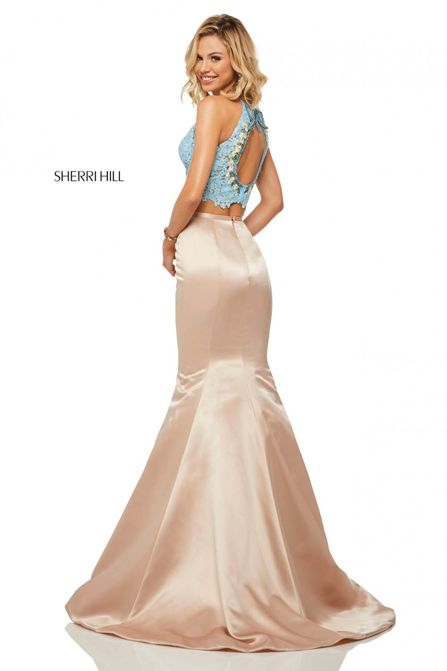 Sherri Hill 52851 prom dress images.  Sherri Hill 52851 is available in these colors: Light Blue Nude, Ivory Nude, Black Red.