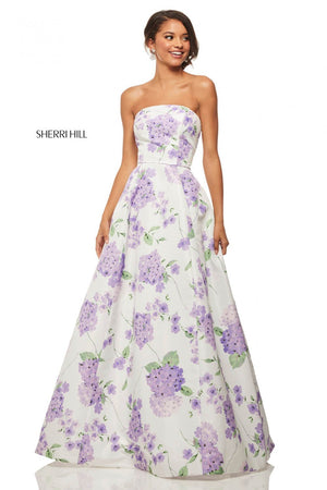Sherri Hill 52865 prom dress images.  Sherri Hill 52865 is available in these colors: Ivory Pink Print, Ivory Lilac Print.