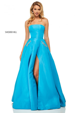 Sherri Hill 52871 prom dress images.  Sherri Hill 52871 is available in these colors: Navy, Turquoise, Coral, Light Blue, Yellow, Black, Ivory.
