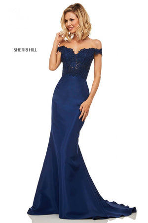 Sherri Hill 52874 prom dress images.  Sherri Hill 52874 is available in these colors: Red, Light Blue, Navy, Yellow, Black, Blush.
